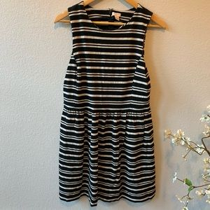 J.Crew Black Off White Striped Sleeveless Dress L